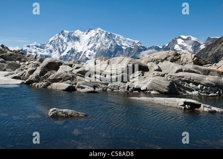 4000, Alps, mountains, mountain lake, Cima di Jazzi, Dufourspitze, Europe, mountains, summit, peak, border, Switzerland, Italy,