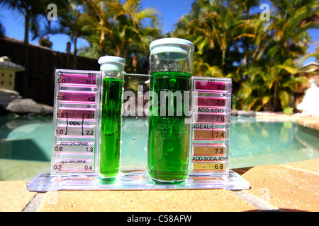 SAMPLE OF SLIMY GREEN WATER IN A POOL TEST KIT BLUE SKY AND POOLSIDE BACKGROUND HORIZONTAL BDB - Stock Photo