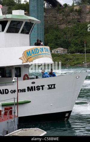 tourists boarding the maid of the mist canadian side niagara falls ontario canada - Stock Photo