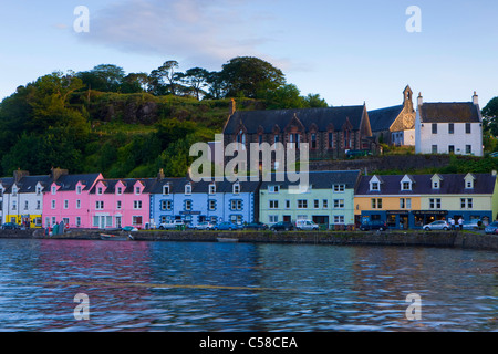 Portree, Great Britain, Scotland, Europe, island, isle, Skye, sea, coast, town, city, harbour, port, houses, homes, - Stock Photo