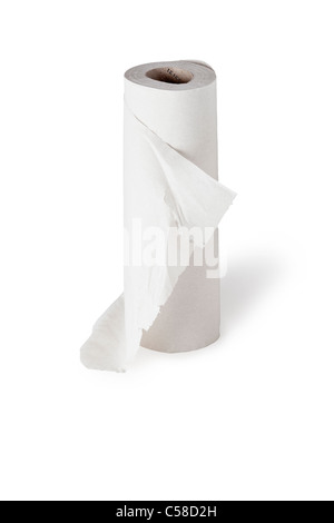 Kitchen paper roll on white background - Stock Photo