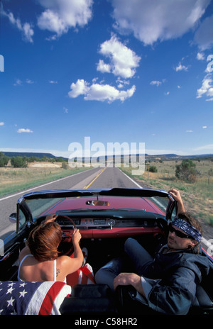 Pink Cadillac, People, driving, Albuquerque, New Mexico, USA, United States, America, 1962, car, convertible, near - Stock Photo
