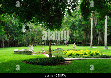 Garden, Sarasota Bay, Ringling Mansion, John and Mable Ringling Museum of Art, Sarasota, Florida, USA, United States, - Stock Photo