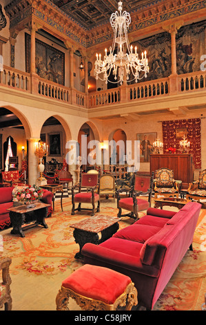 The Court, Interior, The Ringling Mansion, Ca D'Zan, John and Mable Ringling, Museum, Sarasota, Florida, USA, United - Stock Photo