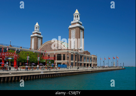 Navy Pier, Chicago, Illinois, USA, United States, America, water, towers - Stock Photo