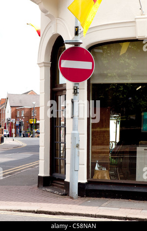 No Entry Road sign on post Street Furniture & Signage - Stock Photo