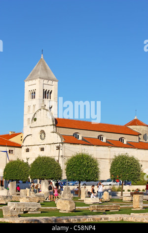 St. Mary's church located in the old city of Zadar opposite St. Donatus Church, Croatia - Stock Photo