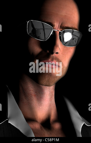 Digital render of a close-up of the face of a young, bald man wearing sunglasses standing in shadow. - Stock Photo