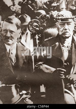 Adolf Hitler and Paul von Hindenburg in 1933. - Stock Photo