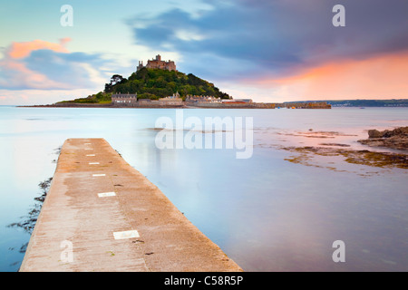 St Michael's Mount; Cornwall; sunset; from Marazion - Stock Photo