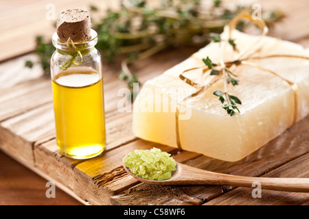 Piece of natural soap with thyme. - Stock Photo