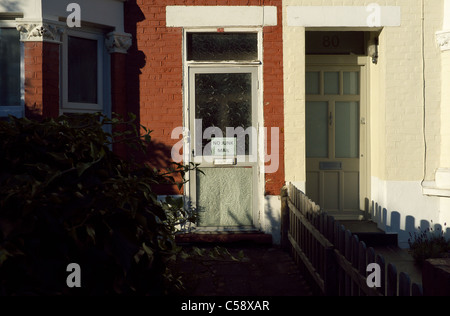 No Junk Mail sign on residential door. - Stock Photo