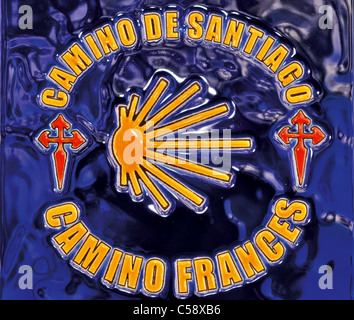 Spain, St. James Way: Symbol of the Camino Frances on a tile in O Cebreiro - Stock Photo
