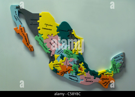 colorful jigsaw map of mexico puzzle showing mexican states and major cities stock photo