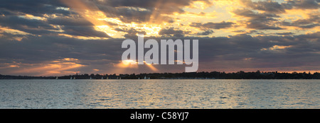 Sunset over Crawley and the Swan River in Perth, Western Australia. Taken from Como - Stock Photo