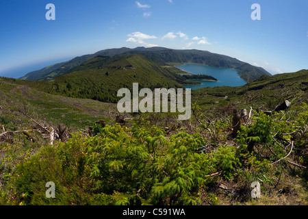 Lagoa do Fogo - the Fire Lake, a famous crater lake in São Miguel island, Azores. - Stock Photo