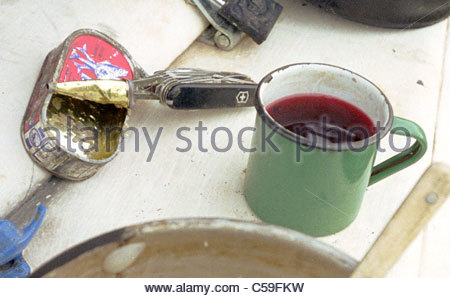Camping equipment used by explorer Kypros in Africa - dinner ... tinned sardines and mug of red tea - Stock Photo