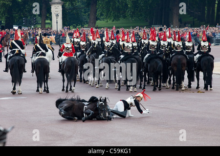 Royals horse Guard falls off horse at Trooping the Colour ceremony in London June 11, 2011. - Stock Photo