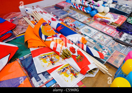 Ulster/Northern Ireland branded goods on sale at a stall at a street party on 11th July to celebrate Orangefest - Stock Photo