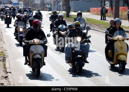 RIGA - MARCH 16: Motorcycle Season opening parade with thousands of participants. April 24, 2010, Riga, Latvia. - Stock Photo