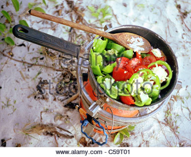 Camping equipment used by explorer Kypros in Africa - frying pan cooker - Kenya - Stock Photo