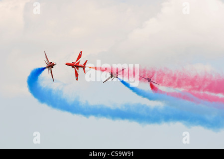 WADDINGTON, ENGLAND, UK - JULY 2: The Red Arrows aerobatic display team at Waddington International Air Show on - Stock Photo