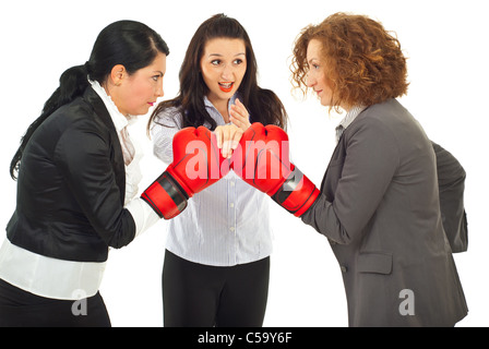Referee executive woman give start to business women competition with boxing gloves isolated on white background - Stock Photo