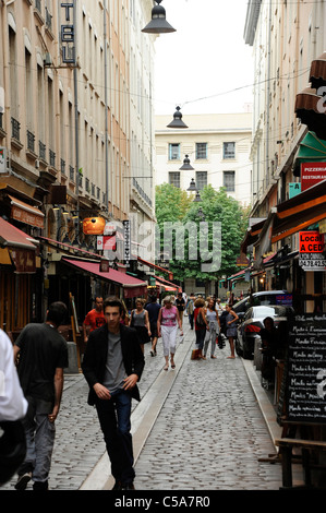 Narrow street in old part of Lyon, France. - Stock Photo
