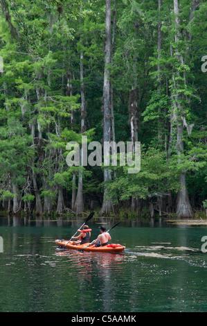 kayakers enjoying an outing at Manatee Springs State Park Florida - Stock Photo
