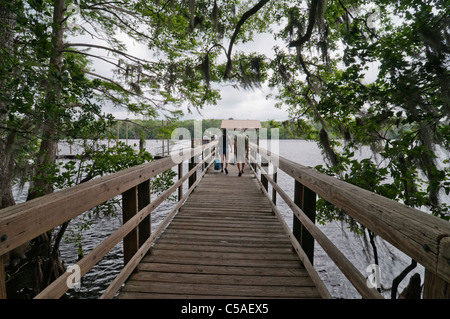 Manatee Springs State Park walkway out to the Suwannee River in North Florida - Stock Photo