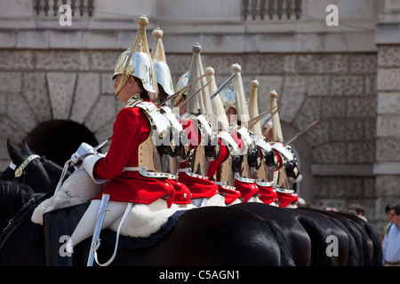 The Queen's Life Guard or Horse Guard Changing ceremony in London, UK on June 14, 2011. - Stock Photo