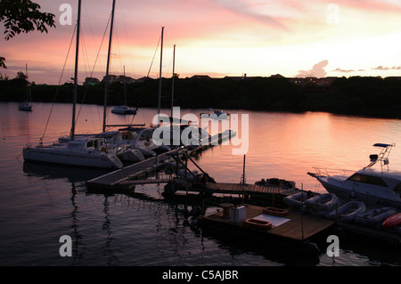 Dusk at the marina, Grenada, Barbados - Stock Photo