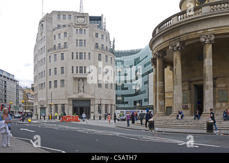 Broadcasting House and All Soul's Church Langham Place London England - Stock Photo