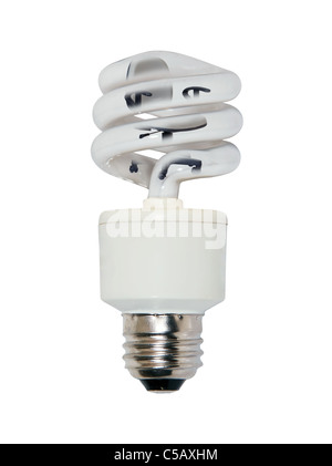 Office lighting with an office chair inside a spiral glass bulb lightbulb used to light a room efficiently - Stock Photo