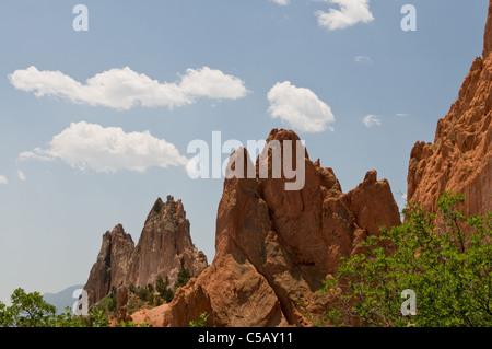 USA, Colorado, Colorado Springs, Garden of the Gods, rock formations - Stock Photo