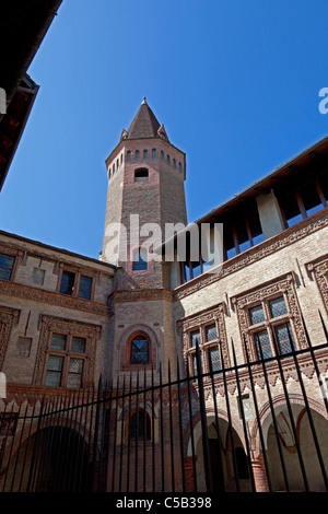 In Aosta, the outside of the St Peter and St Ursus Romanesque cloister (Italy). Extérieur du cloître Roman St Pierre - Stock Photo