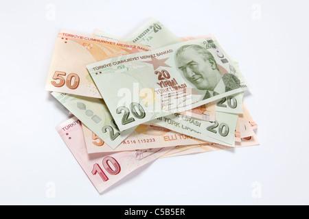 Turkish Lira notes -cut out on white - Stock Photo