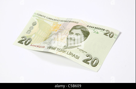 Twenty Turkish Lira note -cut out on white - Stock Photo