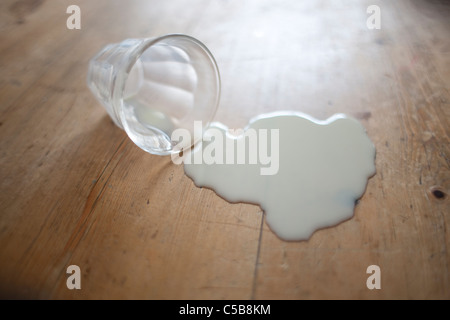 Glass of milk spilt on wooden floor - Stock Photo