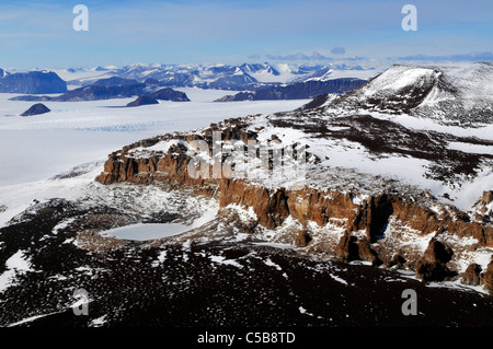 Aerial view of Battleship Promontory, Alatna Valley McMurdo Dry Valleys Antarctica - Stock Photo