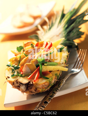 Pineapple salad with red snapper - Stock Photo