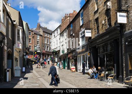Shops on Elvet Bridge in the city centre, Durham, County Durham, North East England, UK - Stock Photo