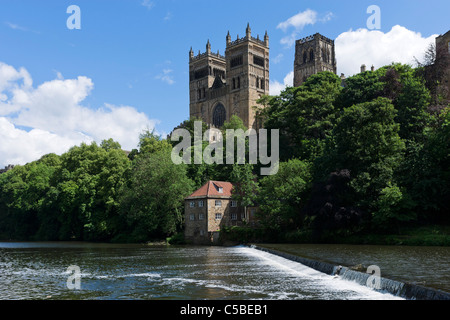 Durham Cathedral from the banks of the River Wear, Durham, County Durham, North East England, UK - Stock Photo