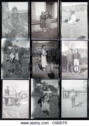 contact sheet with family and vacation photos from the 1950s 1960s South France Languedoc - Stock Photo