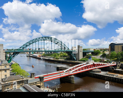 View of the River Tyne showing the Swing Bridge and Tyne Bridge with the Sage Gateshead behind, Newcastle upon Tyne, - Stock Photo