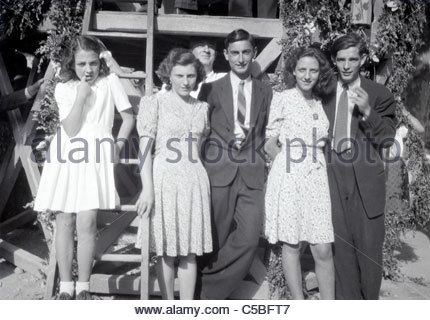 two young adult couples early 1960s rural France - Stock Photo