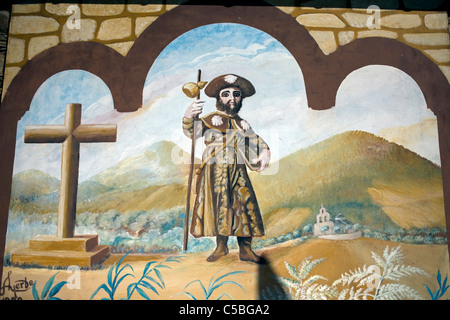 A Saint James image painted in the wall of a chapel in the French Way of St. James Way, El Bierzo region, Castilla - Stock Photo