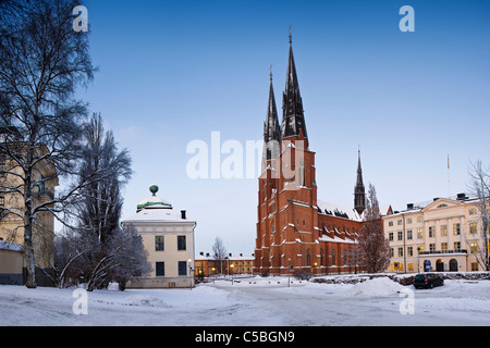 Domkyrkoplan against clear blue sky with snow covered landscape in the foreground - Stock Photo