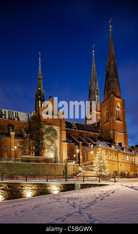 Christmas tree and Uppsala domkyrk against clear blue sky at night - Stock Photo