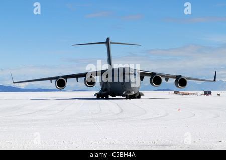 C17 plane supporting US Antarctic Program at Pegasus Airfield McMurdo Station Antarctica - Stock Photo